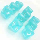 Teal & White Frosted D10 Ten Sided Dice Set